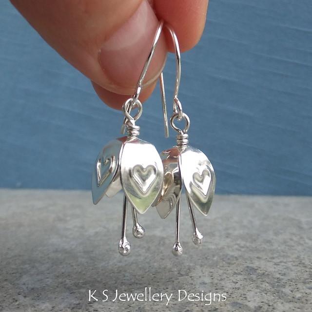 Heart Textured Sterling Silver Bell Flower Earrings