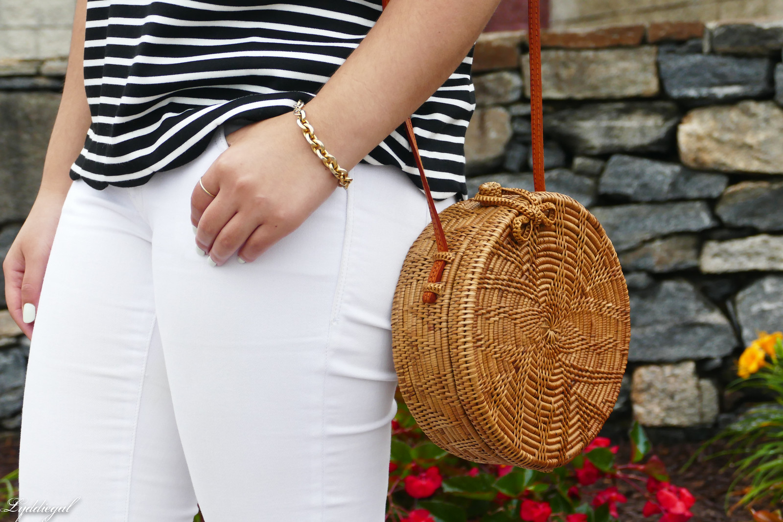 striped of the shoulder top, white jeans, straw bag, soak slides-4.jpg