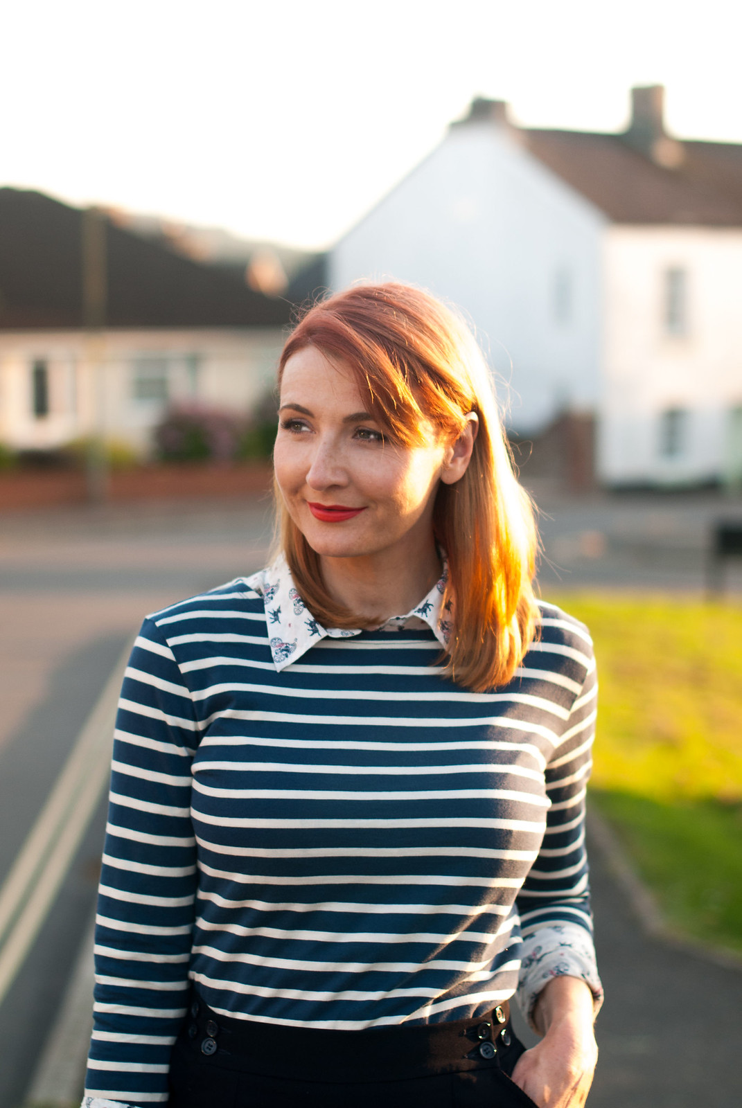 Ways to style a Breton stripe top: Office chic/workwear - with navy wide leg cropped pants, red block heels and layered with a print shirt   Not Dressed As Lamb, over 40 style