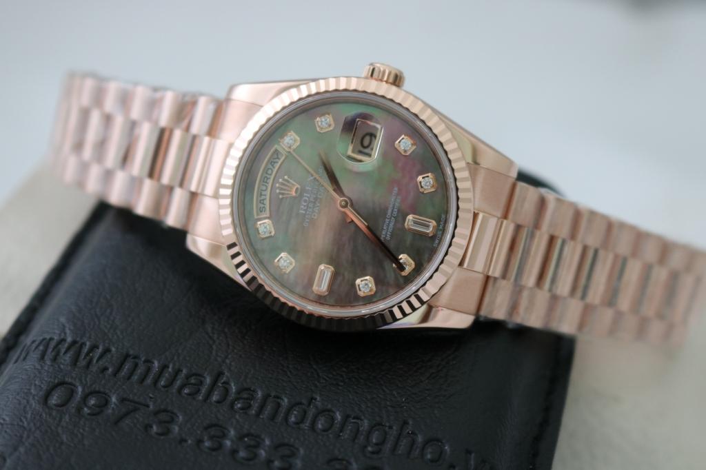 Đồng hồ rolex day date 6 số 118235 – vàng hồng 18k – size 36mm – mặt đá xà cừ