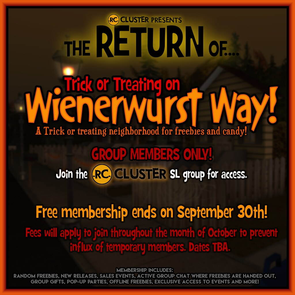 -RC- Cluster Presents Trick or Treating on Wienerwurst Way!