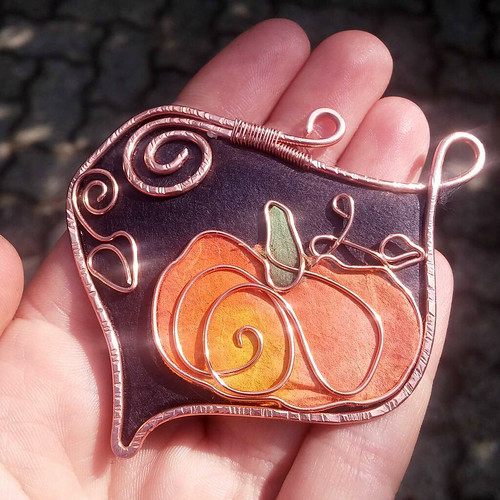 Paper and Copper Wire Jewelry - Pumpkin Pendant by Hoppipolla Lab