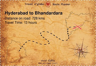 Map from Hyderabad to Bhandardara