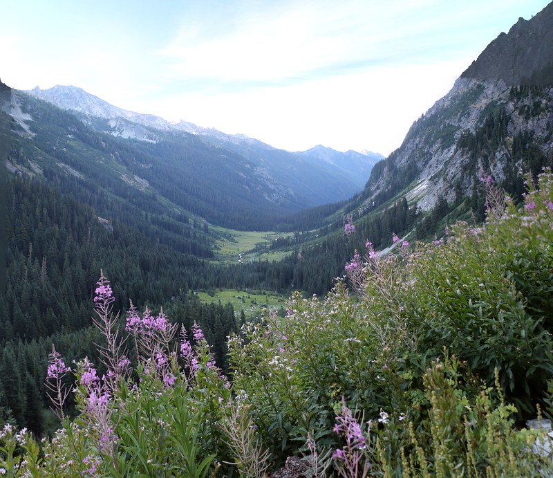 Looking down into Spider Meadow from the Spider Gap Trail with Mount Maude on the left