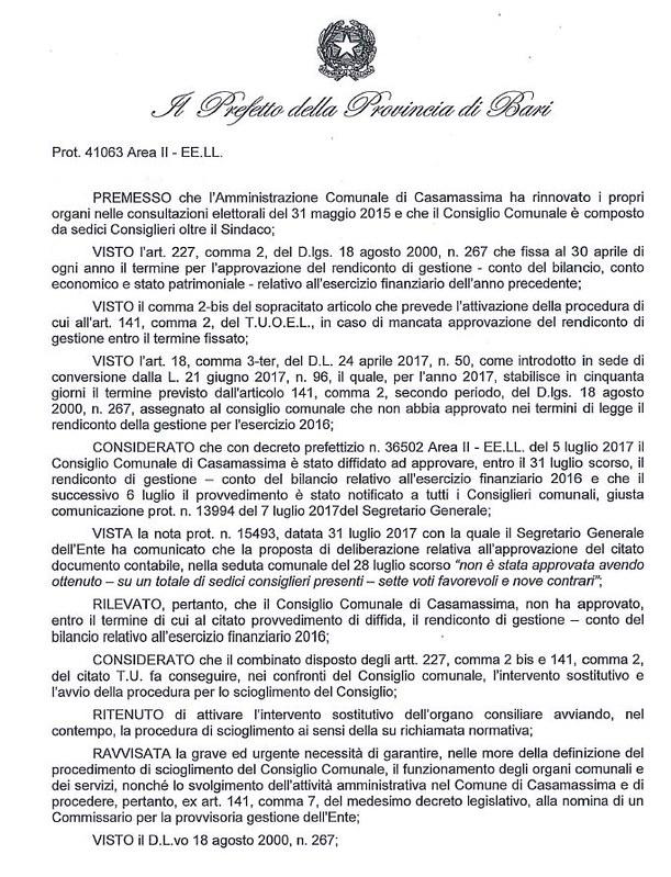 Decreto nomina Commissario Casamassima 2