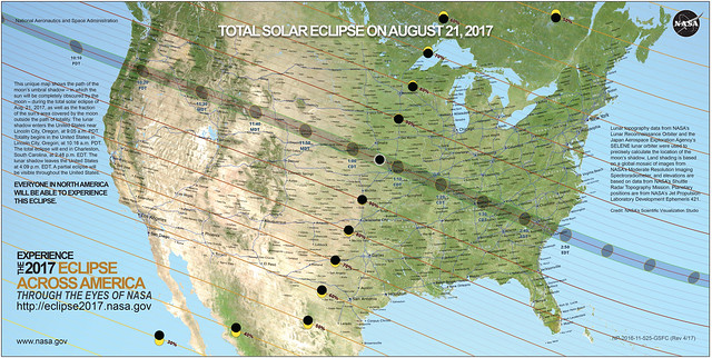 Total Solar Eclipse 2017 Path USA Map