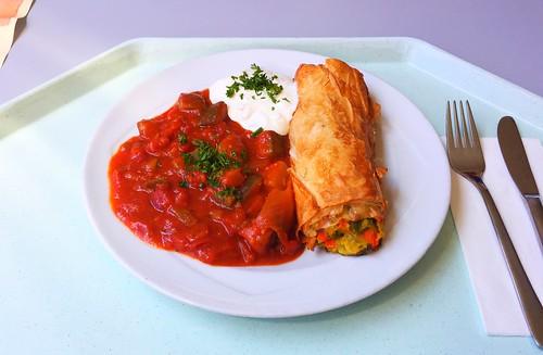 Vegetable strudel with ratatouille / Gemüsestrudel mit Ratatouille