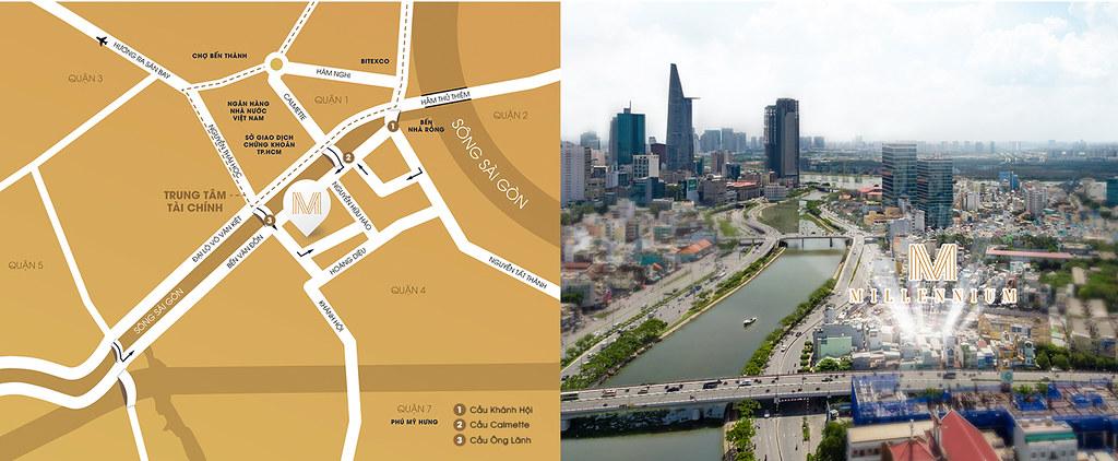 Vị trí dự án Masteri Millennium quận 4 liền kề rất nhiều tiện ích tại trung tâm quận 1.