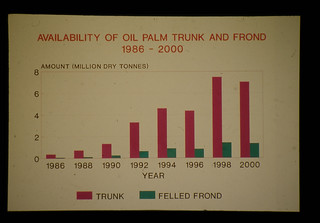 Estimated Yield Of Oil Palm Trunks And Fronds Felled Down From 1986 To 2000  = マレイシアにおけるオイルパーム廃材の予想生産利用