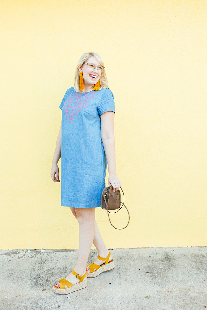 austin style blogger writes like a girl embroidered denim shift dress10