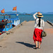 A tourist coming to the jetty in Nha Trang, Vietnam