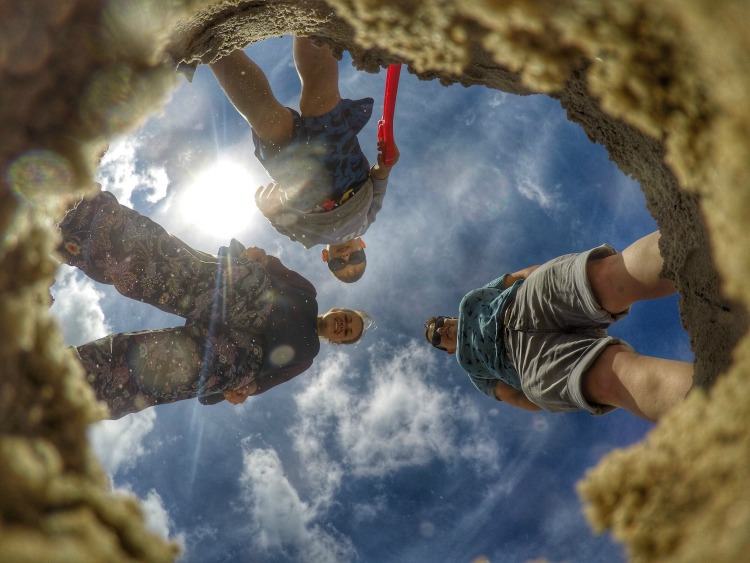 from below gopro family shot