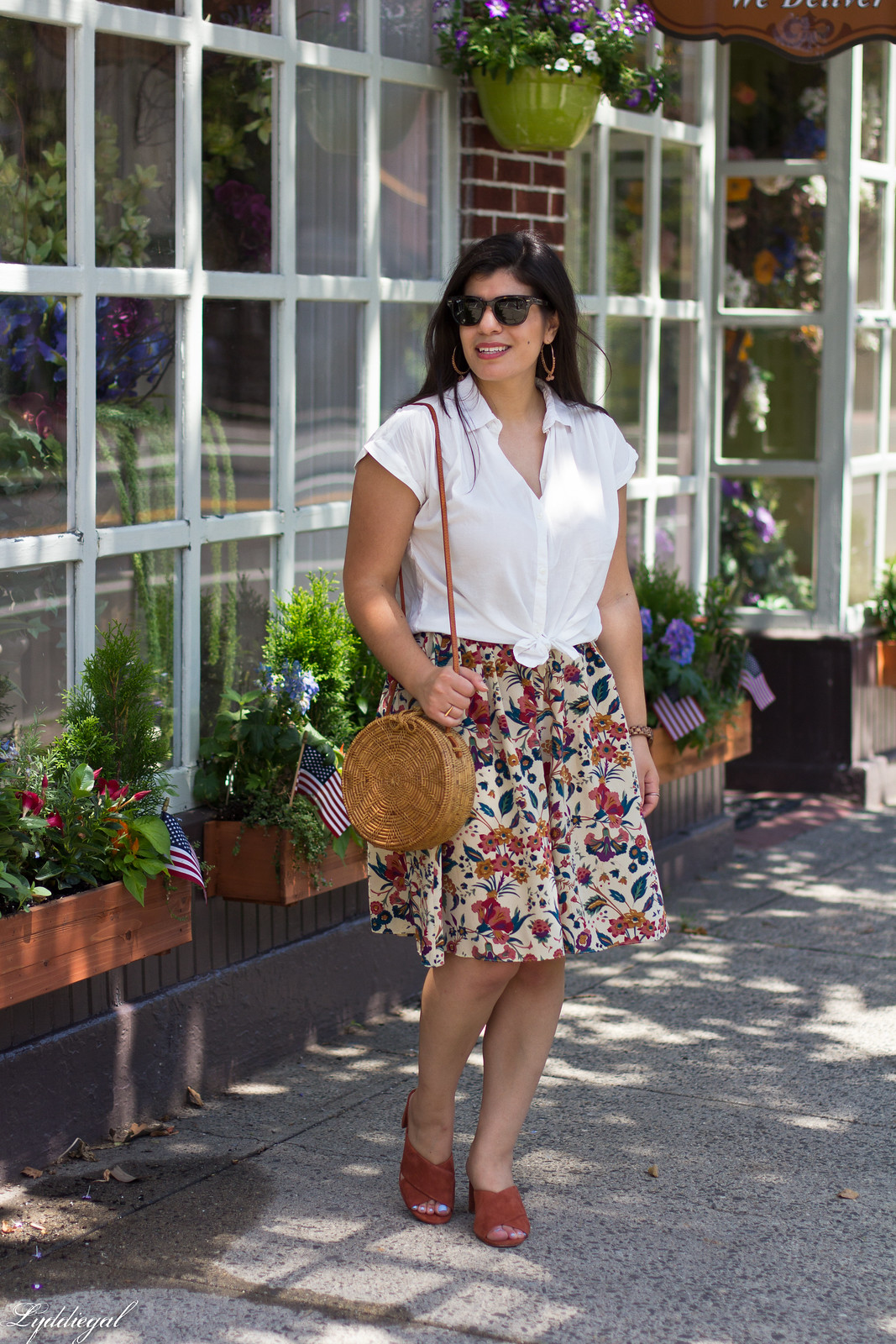 white button down, silk floral skirt, round bag, mules, JORD watch-1.jpg