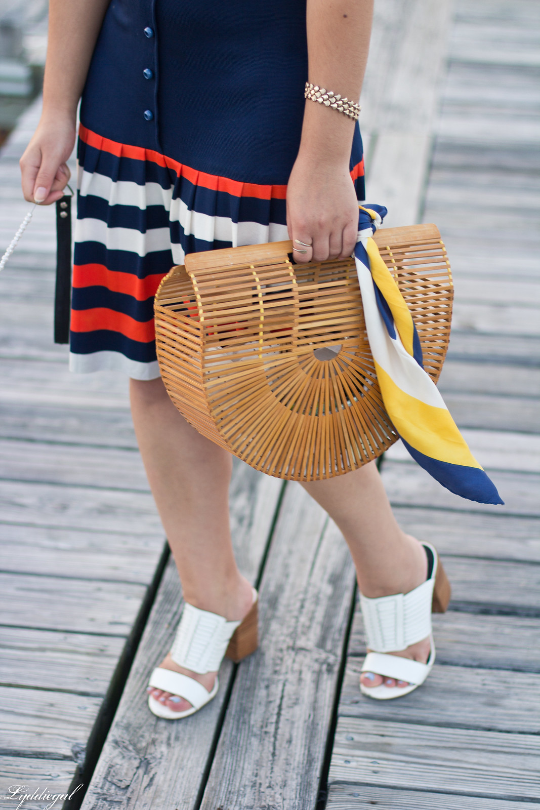 striped drop waist dress, bamboo bag, dog-8