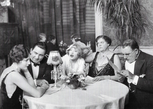 Marion Davies (middle), Jane Winton, Orville Caldwell, Marie Dressler and Dell Henderson in The Patsy (1928)