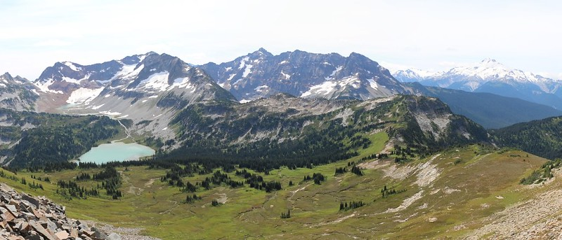 Panorama view south toward the Lyman Lakes and Glacier Peak from the southwest ridge of Cloudy Peak