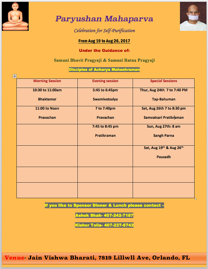 2017.08.19 JVB Orlando Paryushan-2017 Program