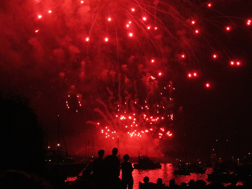 Canada's entry into the fireworks competition included lots of red fireworks