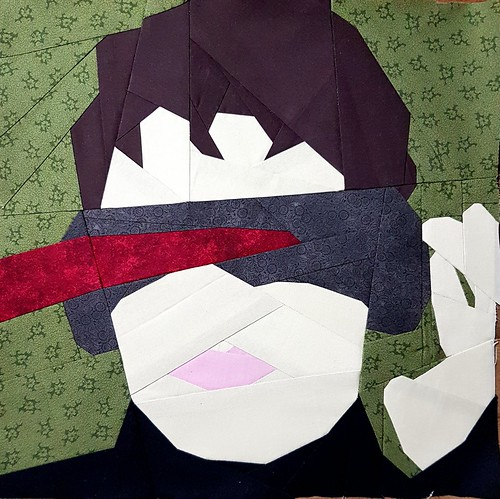 Paper pieced superhero CYCLOPS. Pattern tested for Michelle Thompson of fandominstitches.com Pieced by Hannah Hughes