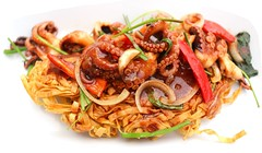 BABY OCTOPUS IN BLACK BEAN/OYSTER SAUCE ON A CRISP EGG NOODLE PILLOW