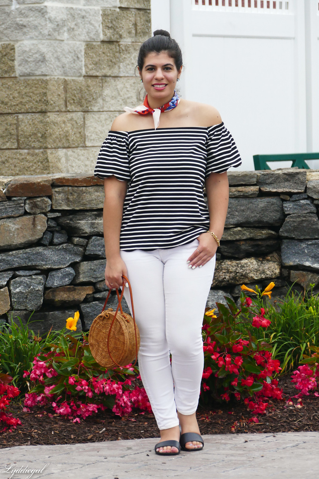 striped of the shoulder top, white jeans, straw bag, soak slides-8.jpg
