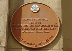 Photo of Richard Lane and Town Hall, Salford brown plaque