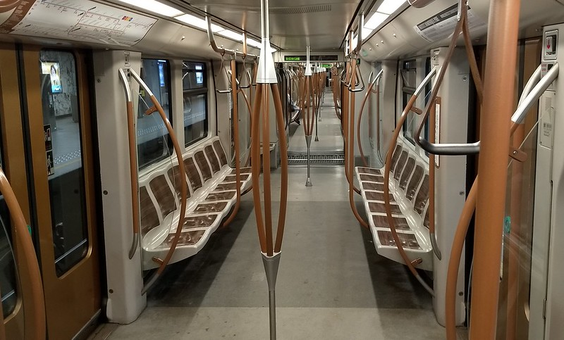 Interior of a new Brussels Metro train