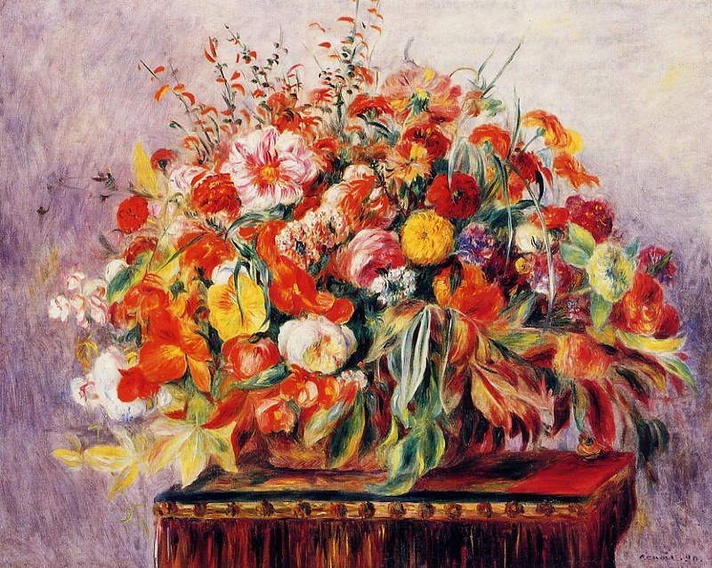 Basket of Flowers by Pierre Auguste Renoir - 1890