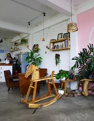 Interior of art coffee shop