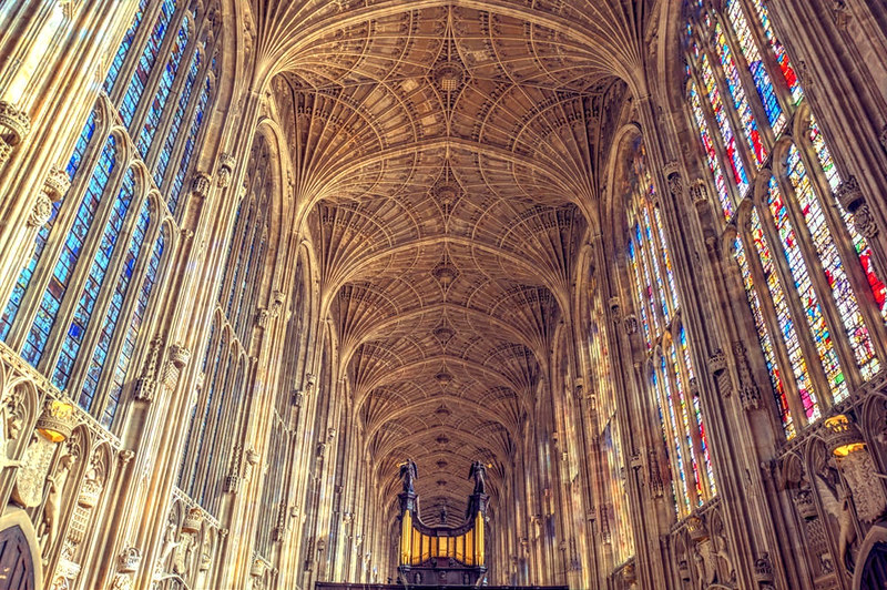 King's College Chapel Fan Ceiling and Stained Glass. Credit Scudamore's Punting Cambridge