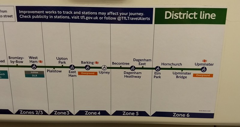 Line map on District Line, London Underground