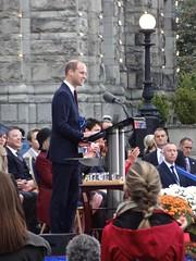 HRH Prince William, Duke of Cambridge, Addressing Crowd at BC Legislature, Victoria, BC, Canada