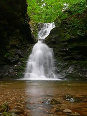 A waterfall during the day