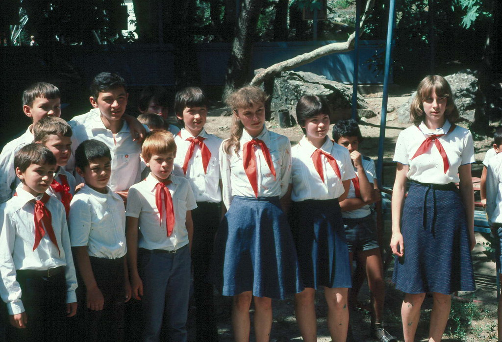 Soviet Young Pioneers in the Zeravshan Mountains of Tajik SSR, 1983.