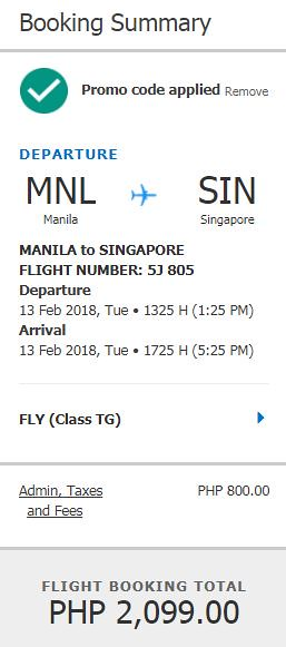Manila to Singapore February 13, 2018 Cebu Pacific Air Promo
