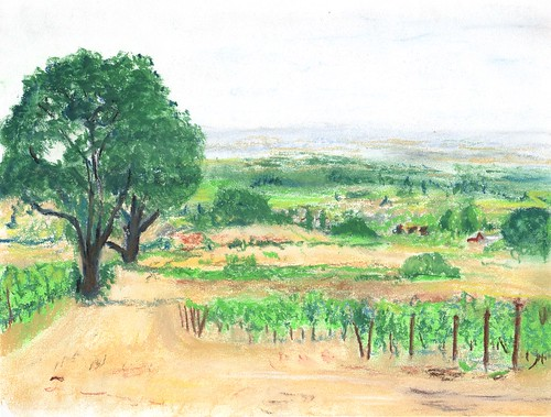 pastel painting oregon landscape trees pleinair willamettevalley