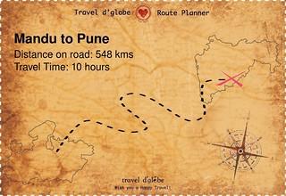 Map from Mandu to Pune