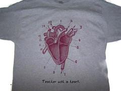 A teacher with a Heart t-shirt