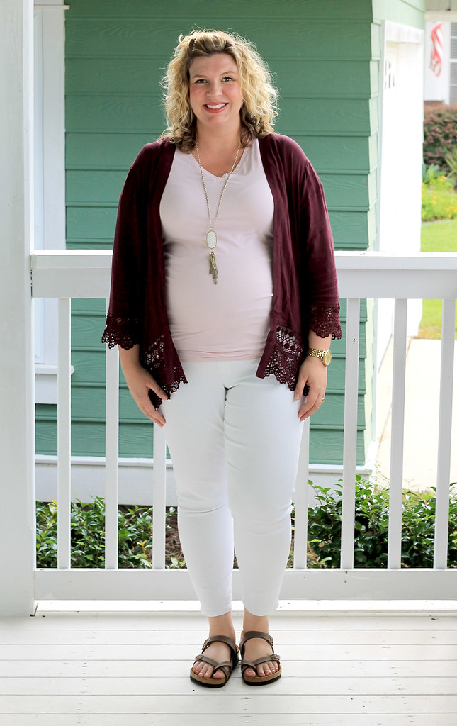 garnet kimono, maternity pink tee and white jeans 2