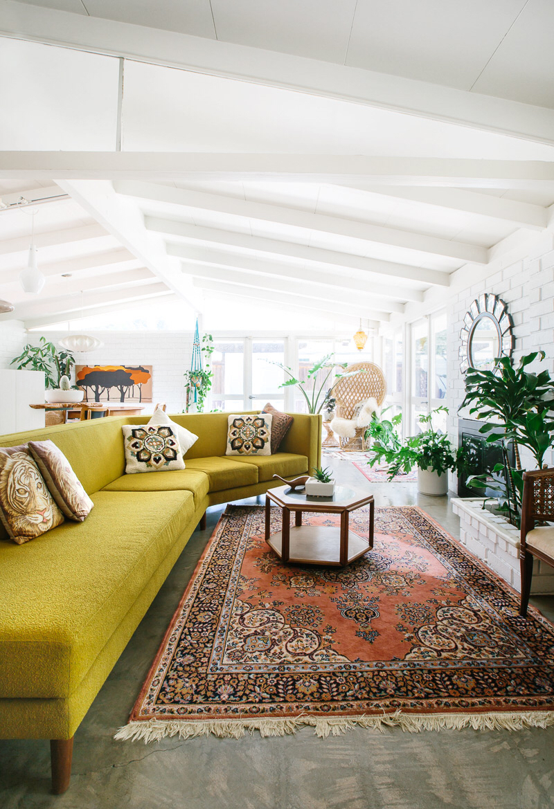 9 Sofas That Will Make You Rethink Your Neutral Decor | Mid Century Modern Vintage Design Living Room Decor Inspiration Chartreuse Sofa Couch
