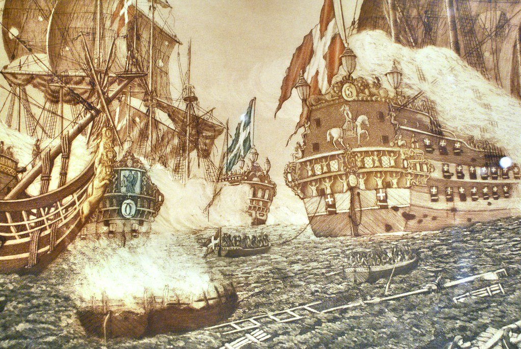 Illustration d'une bataille navale contre la Suède au Musée National à Copenhague.
