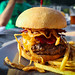 Maple Bacon Burger - Cheddar, Bourbon Maple Syrup, and Crispy Onions - Table 9