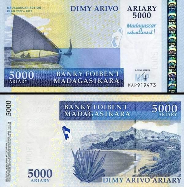 5000 Ariary Madagaskar 2008, P94 hybridná bankovka