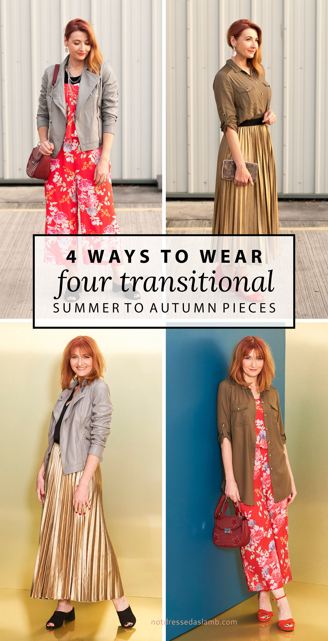 4 Ways to Wear four transitional summer to autumn pieces: Grey leather jacket, orange floral jumpsuit, khaki shirt, gold metallic pleated maxi skirt | Not Dressed As Lamb, over 40 style