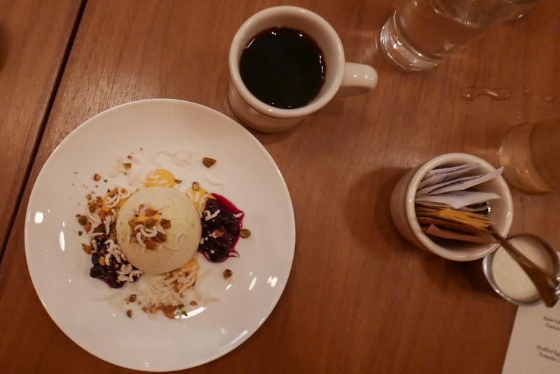 Phirni, Green Cardamom Semifreddo, Blueberry, Saffron, Pistachio, Rice by David Chapman of Daisies (Chicago)
