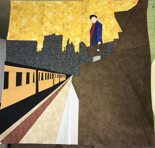 Train and city scene