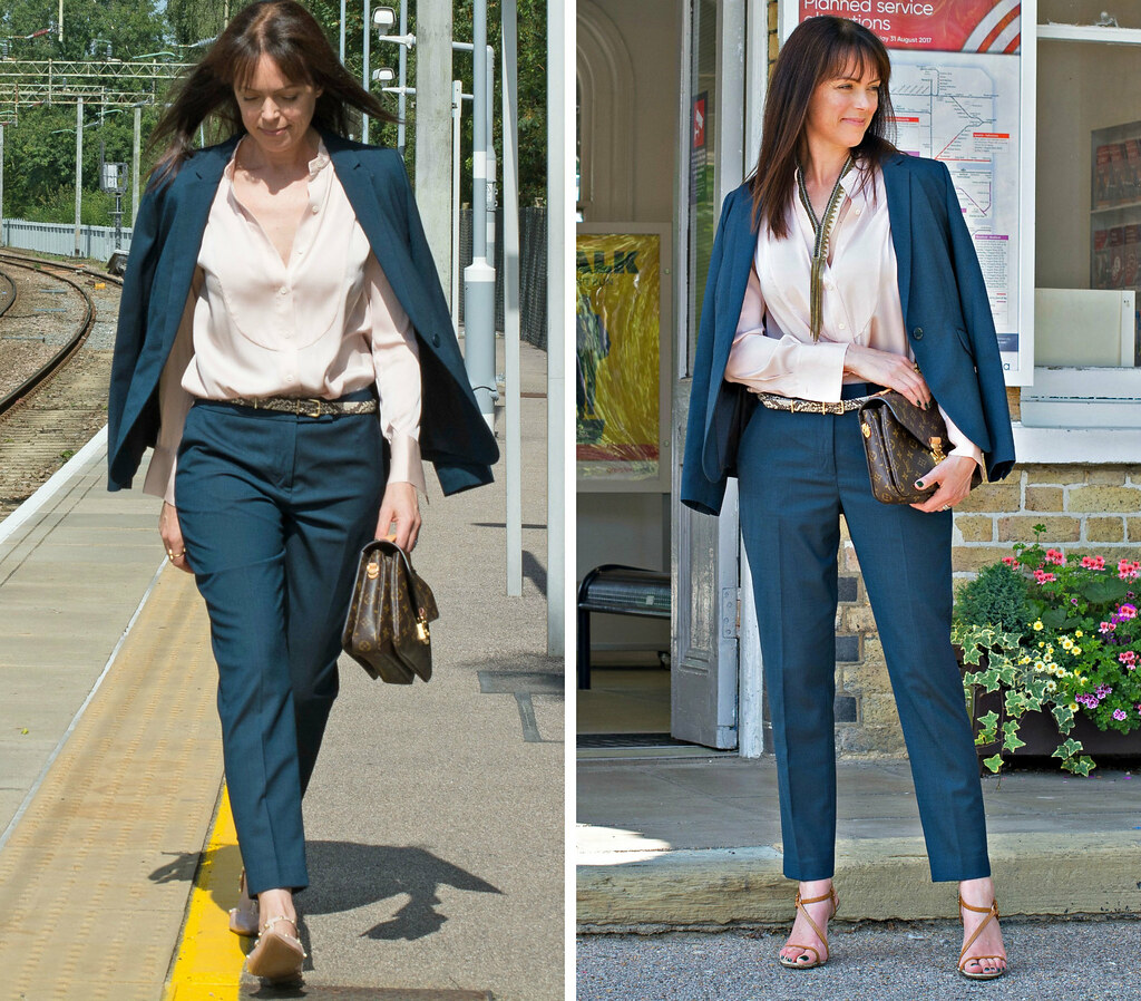 Over 40 fashion blogger Michelle - RetroChicMama - in Hobbs AW17 Desk to Dinner outfit | A navy blue trouser suit styled as office workwear and a date night outfit