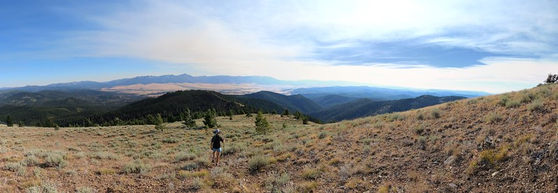 Panorama view looking south toward Prairie City from the south ridge of Dixie Butte