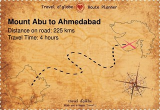 Map from Mount Abu to Ahmedabad