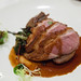 Smoked Long Island Magret duck, Confit Legs with red thumb fingerling potatoes, Swiss chard, blueberry jus
